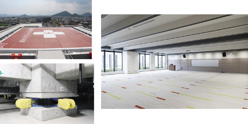 「左上:ヘリポート」「左下:免震装置」「多目的ホール」